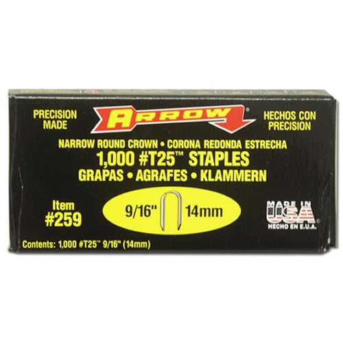 Arrow T-25 Staples 9/16in, qty1000 ARR916C