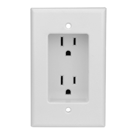 Construct Pro Single Gang Recessed Dual Power Outlet, UL listed CON1000