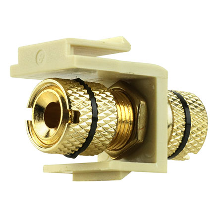 Gold-Plated Speaker Binding Post Keystone Insert Ivory with Black Band