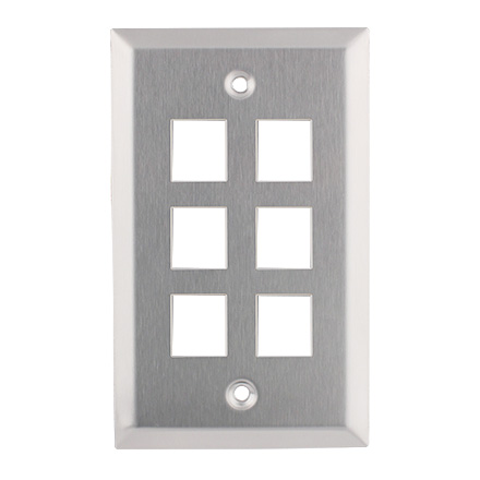 KEYSTONE WALL PLATE 6H/1G SS CON4006SS