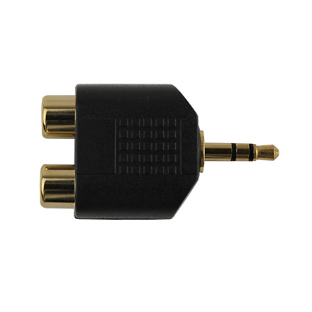 3.5 MM MALE TO 2 RCA  FEMALE CON7012