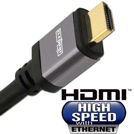 Elementhz 15 meter (49.2ft) HDMI Cable, Round Jacket, Gray End ELE5015M