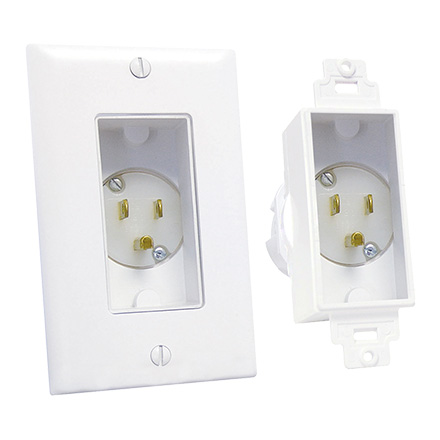 Midlite 4642-W Recessed Single Gang Power Inlet, white