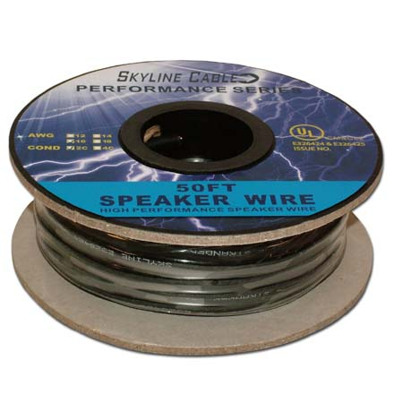 50ft 16 Gauge 2 Wire Speaker Cable, Black SKL2001K