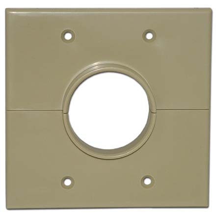 Skywalker Signature Series Split Dual Gang Wall Plate with 1.75 inch hole, ivory SKY05066ID