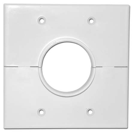 Skywalker Signature Series Split Dual Gang Wall Plate with 1.75 inch hole, white SKY05066WD