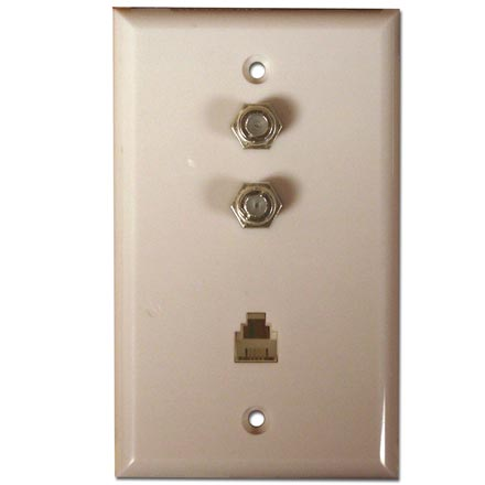 Skywalker Signature Series Flush Mount Wall Plate w/dual F-81 and Phone, Almond SKY05084A