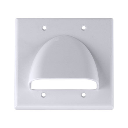 Skywalker Signature Series Double Gang Bundled Cable Wall Plate, White SKY05087WD