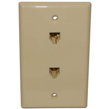 Skywalker Signature Series Flush Mount Wall Plate w/dual Phone Almond SKY05088A
