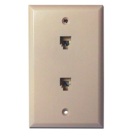 Skywalker Signature Series Flush Mount Wall Plate w/dual Phone Ivory SKY05088I