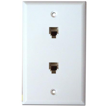 Skywalker Signature Series Flush Mount Wall Plate w/dual Phone White SKY05088W