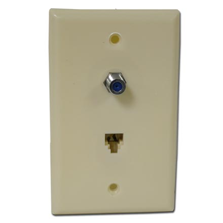 Skywalker Signature Series Wall Plate w/single 3.0ghz F-81 & Phone Connectors, Ivory SKY05093I