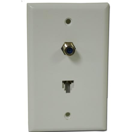 Skywalker Signature Series Wall Plate w/single 3.0ghz F-81 & Phone Connectors, White SKY05093W