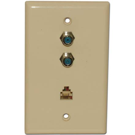 Skywalker Signature Series Wall Plate w/dual 3.0ghz F-81 and Phone Connectors, Almond SKY05094A