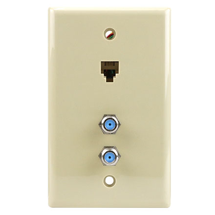 Skywalker Signature Series Wall Plate w/dual 3.0ghz F-81 & Phone Connectors, Ivory SKY05094I