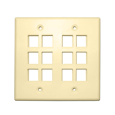 Skywalker Signature Series Keystone Wall Plate for 12 Jacks, Double Gang, Almond SKY052212A