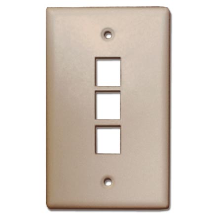 Skywalker Signature Series Keystone Wall Plate for 3 Jacks, Ivory SKY05223I