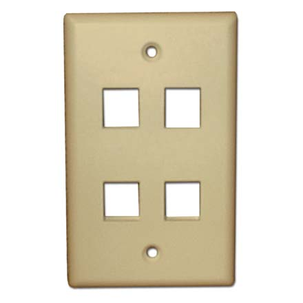 Skywalker Signature Series Keystone Wall Plate for 4 Jacks, Almond SKY05224A