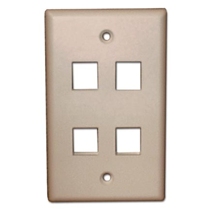 Skywalker Signature Series Keystone Wall Plate for 4 Jacks, Ivory SKY05224I