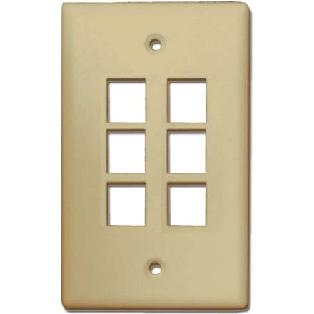Skywalker Signature Series Keystone Wall Plate for 6 Jacks, Almond SKY05226A
