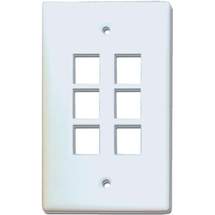 Skywalker Signature Series Keystone Wall Plate for 6 Jacks, White SKY05226W