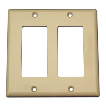 Model ADGWPIV Double Gang Keystone Decora Style Wall Plate, Ivory SKY07222I