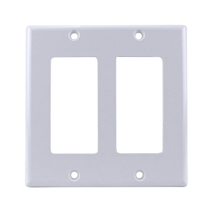 Model ADGWPW Double Gang Keystone Decora Style Wall Plate, White SKY07222W