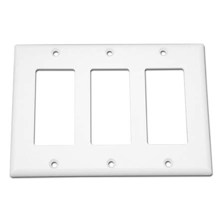 Model ATGWPW Triple Gang Keystone Decora Style Wall Plate, White SKY07223W