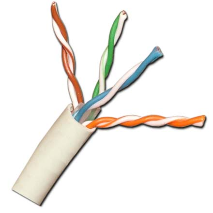 Vertical Cable Cat-5e Plenum, 24awg Solid, 1000ft Pull box, White