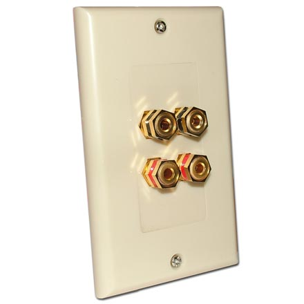 Choice Select Decora Wall Plate with 4 Binding Posts, ivory CHO2008I