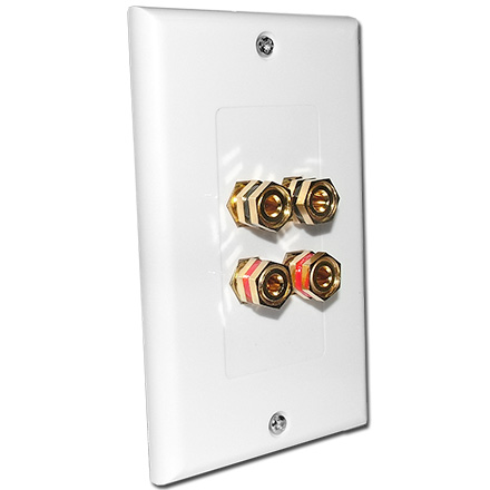 Choice Select Decora Wall Plate with 4 Binding Posts, white CHO2008W