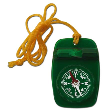 Skywalker Compass with Safety Whistle and Lanyard, Green