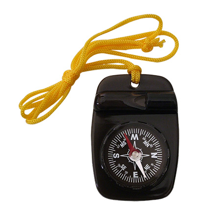 Skywalker Compass with Safety Whistle and Lanyard, Black