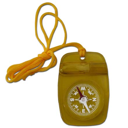 Skywalker Compass with Safety Whistle and Lanyard, Yellow
