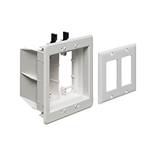 Arlington Model TVBU505 Double Gang Recessed Electrical Box for Power & Low Voltage