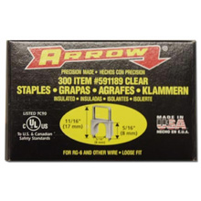 Arrow T-59 Insulated Staples, Clear, 5/16in, qty300 ARR516CL
