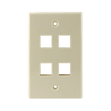 Construct Pro™ 4-Port Keystone Wall Plate (Light Almond) CON3004LA