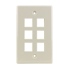 Construct Pro™ 6-Port Keystone Wall Plate (Light Almond) CON3006LA
