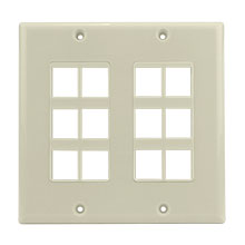 Construct Pro™ 12-Port Keystone Wall Plate (Light Almond) CON3012LA