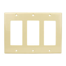 Construct Pro™ Decorative Triple Gang Wall Plate (Ivory) CON3042I