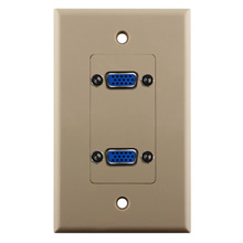 Construct Pro™ Dual VGA Wall Plate-Pass Through (Ivory)