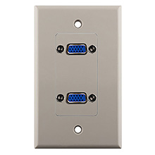 Construct Pro™ Dual VGA Wall Plate-Pass Through (Light Almond)
