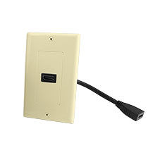 Construct Pro™ Decora Wall Plate with HDMI High Speed with Ethernet Pigtail (Ivory)