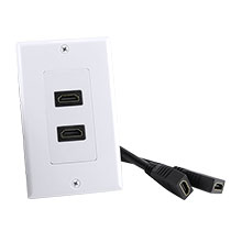 Construct Pro™ Decora Wall Plate with Dual HDMI High Speed with Ethernet Pigtail (White) CON3085W