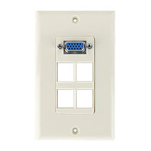 Construct Pro™ VGA + 4 port Keystone Wall Plate (Light Almond)