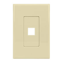 Construct Pro™ 1-Port Keystone Wall Plate with Screwless Face (Ivory) CON4001I