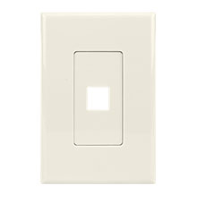 Construct Pro™ 1-Port Keystone Wall Plate with Screwless Face (Light Almond)