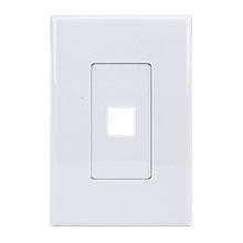 Construct Pro™ 1-Port Keystone Wall Plate with Screwless Face (White) CON4001W