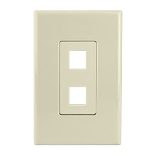 Construct Pro™ 2-Port Keystone Wall Plate with Screwless Face (Ivory)
