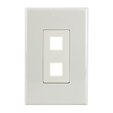Construct Pro™ 2-Port Keystone Wall Plate with Screwless Face (Light Almond) CON4002LA